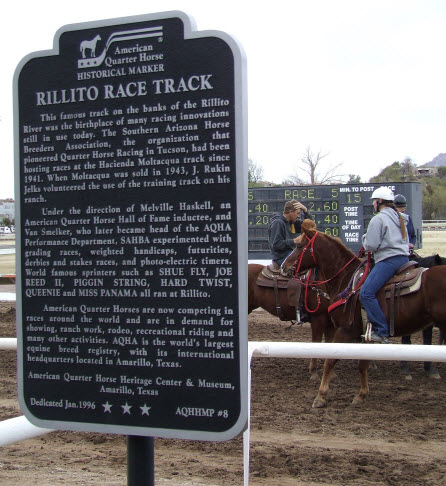 AQHA historic marker at Rillito Park