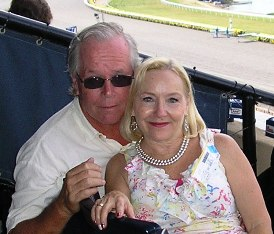 Paul Haggard and his wife, Pam, at the track